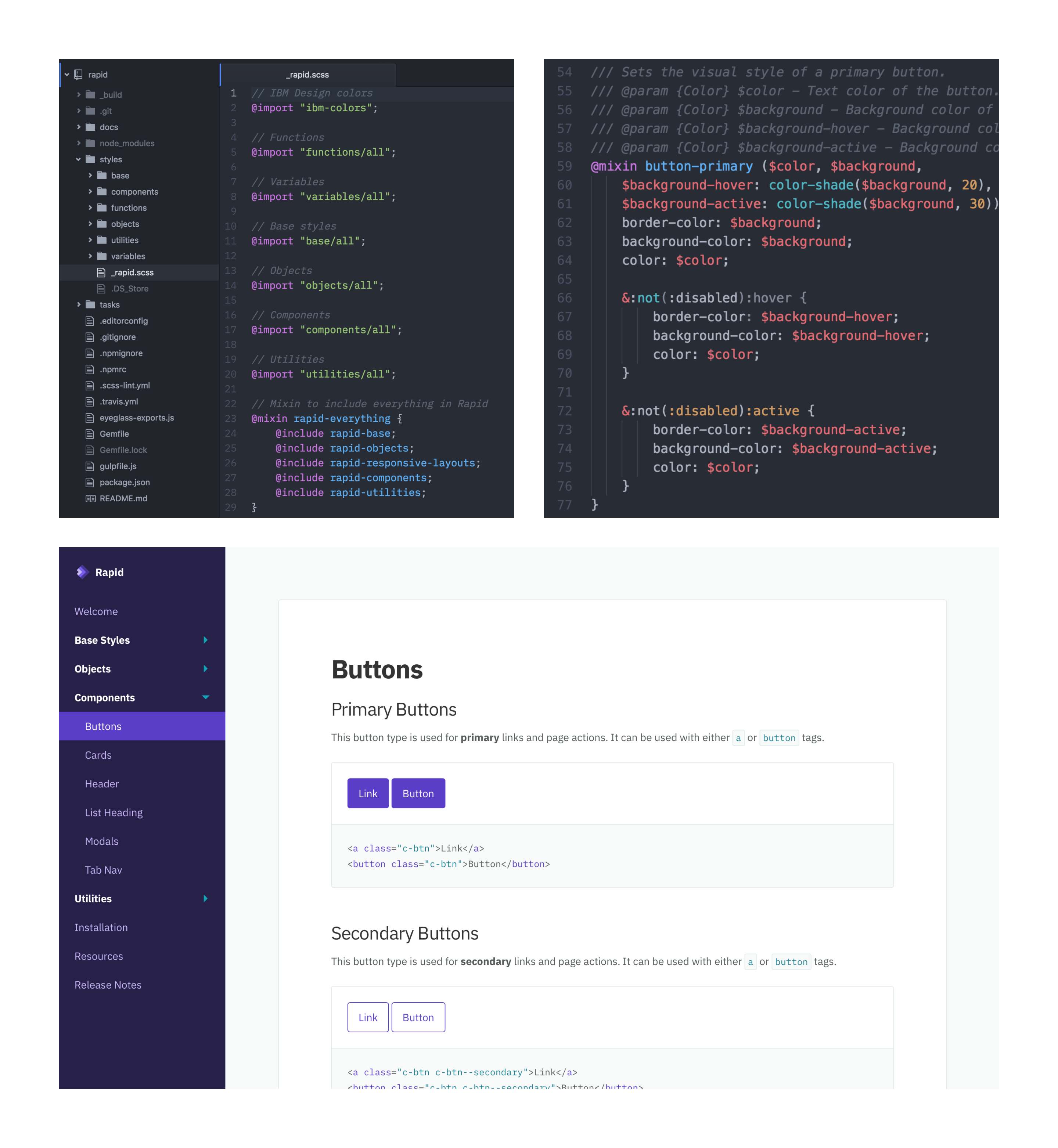 Code and a component page of Rapid's documentation website